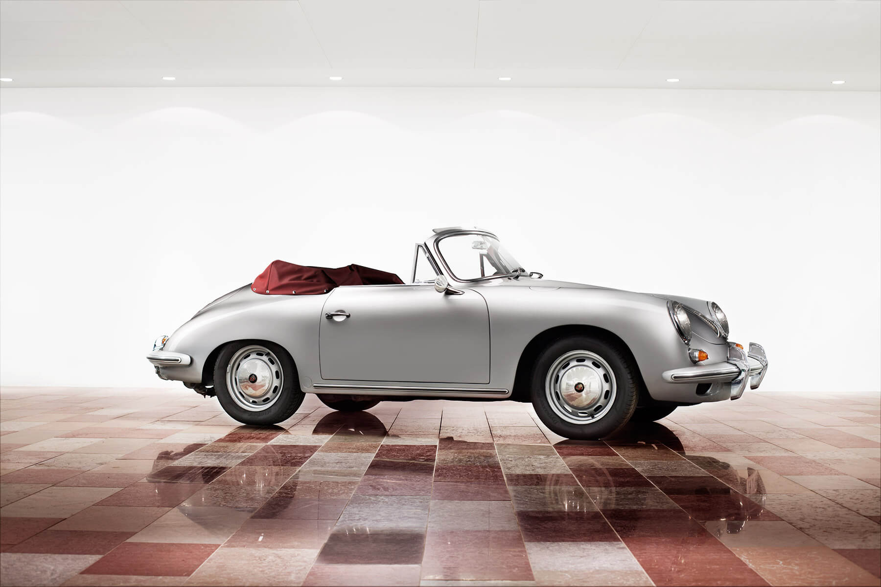 Silver Porsche 356C cabriolet
