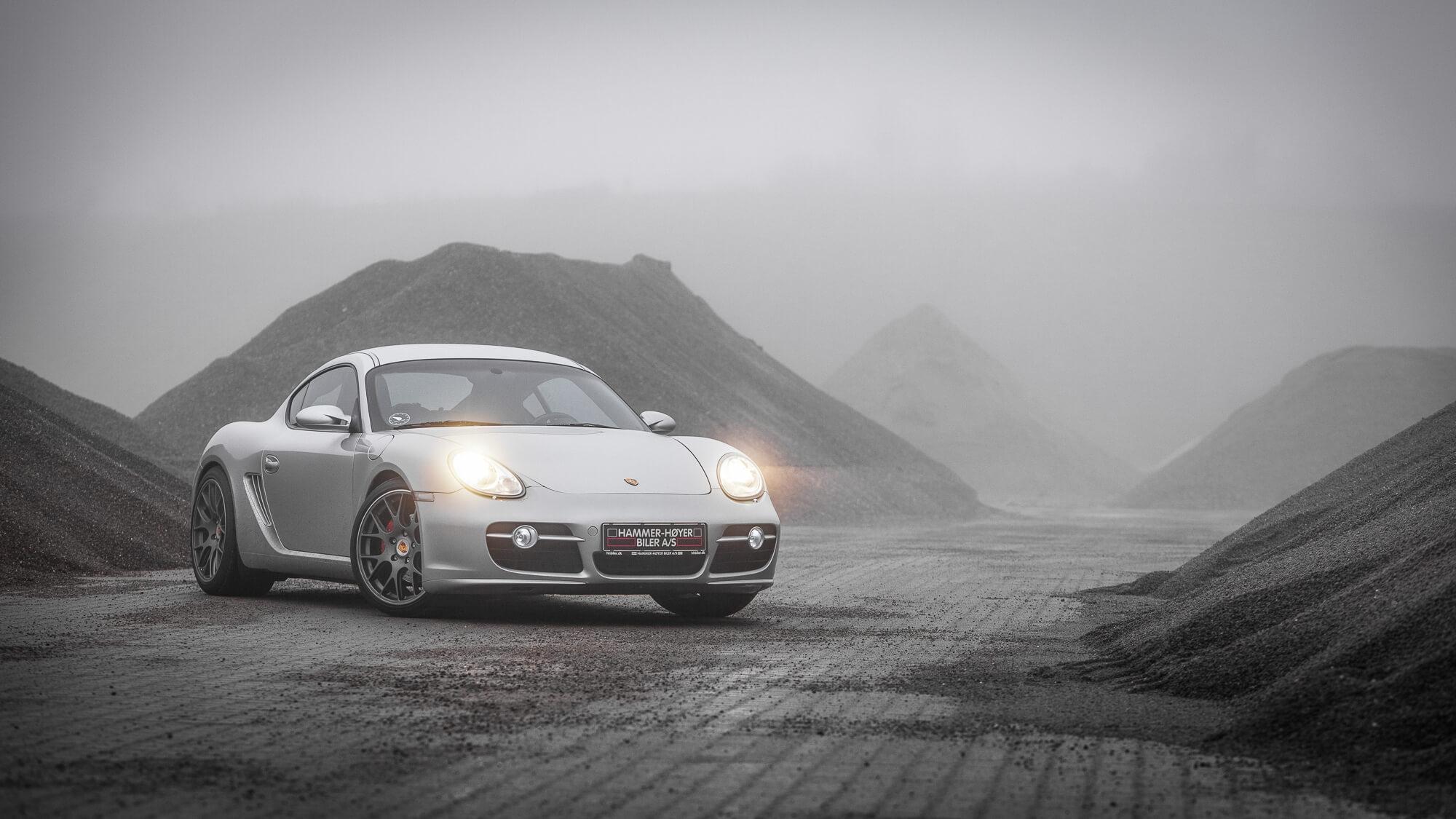 Foggy Porsche Cayman shot by WSC in Aalborg Denmark