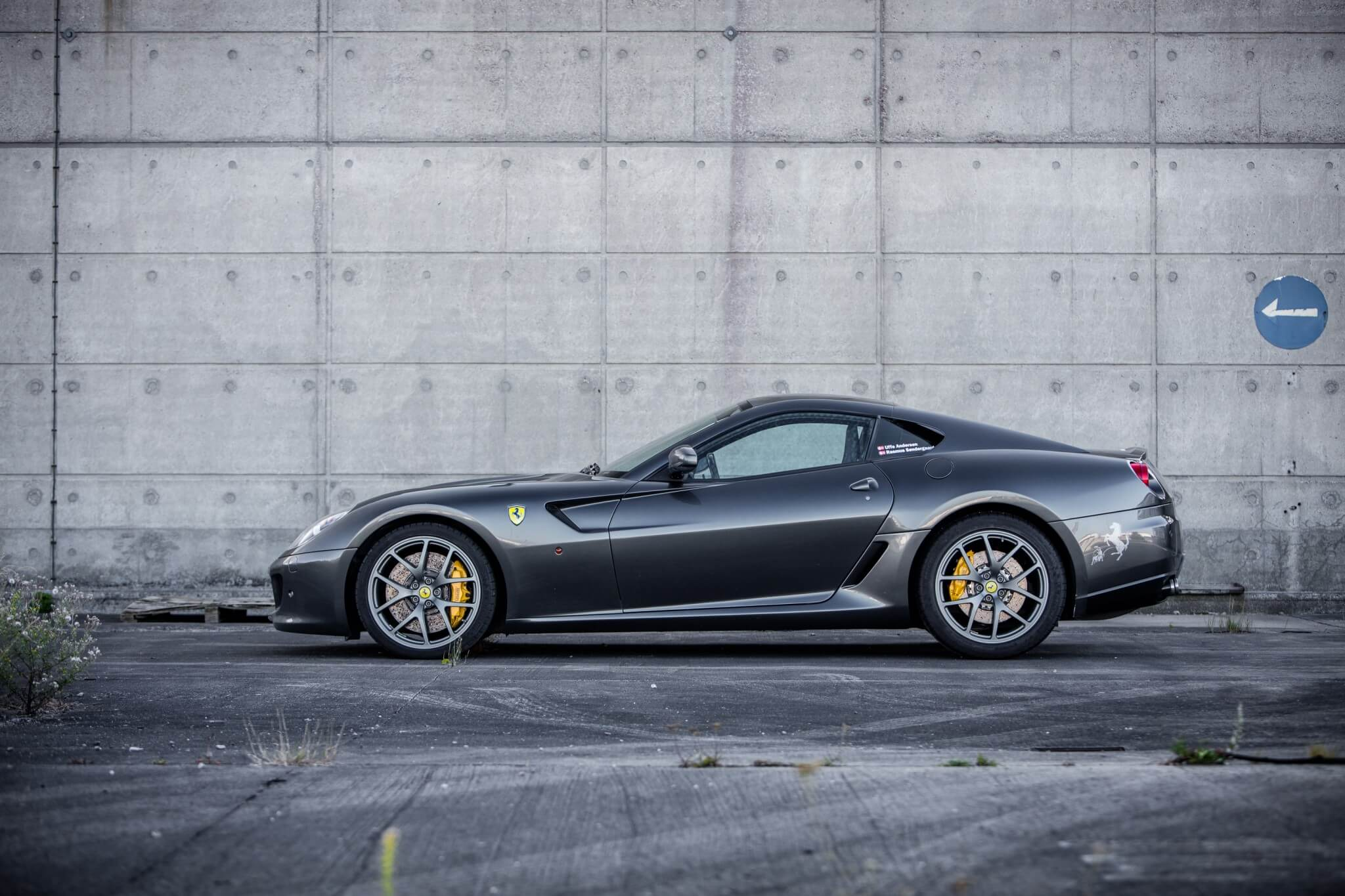 Grey Ferrari 599 GTB Fiorano from the side