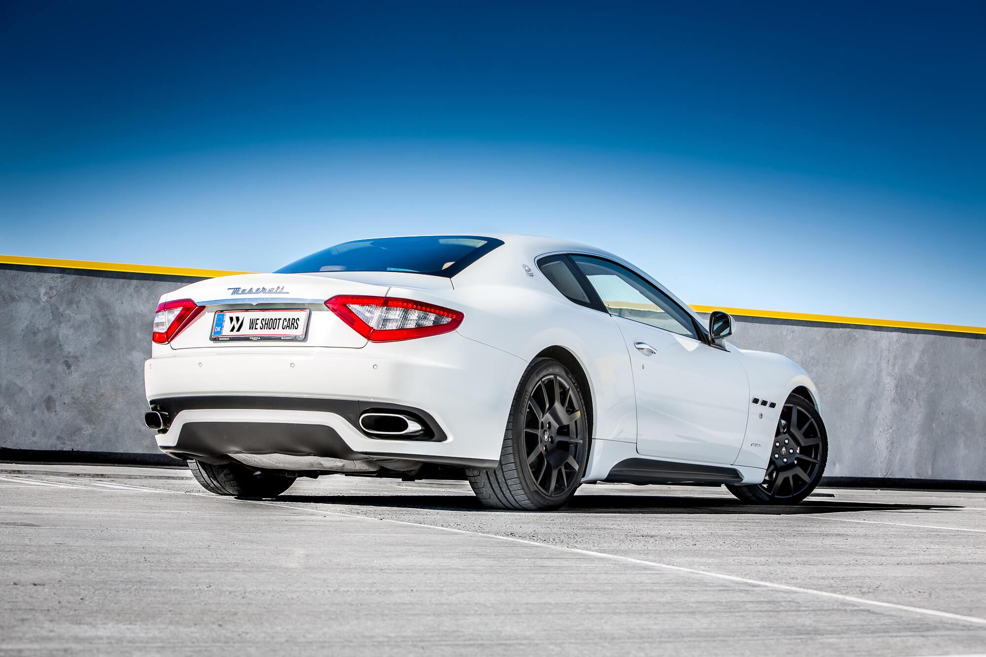 White Maserati GranTurismo S rear